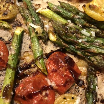 roasted asparagus + heirloom cherry tomato